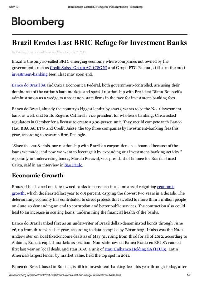 Brazil erodes last bric refuge for investment banks   bloomberg