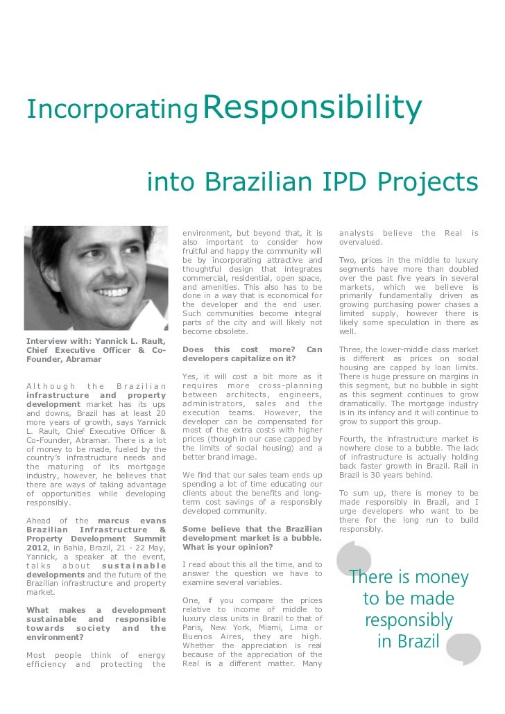 Incorporating Responsibility                               into Brazilian IPD Projects                                    ...