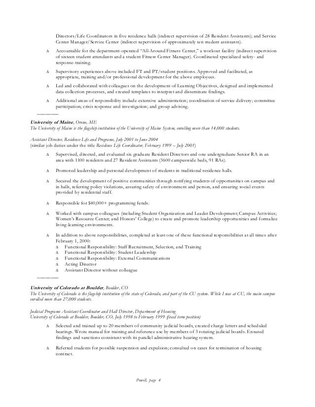 resident assistant description resume resume ideas