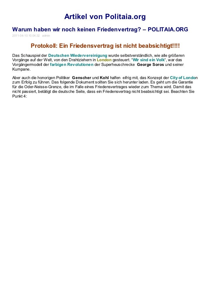 Artikel von Politaia.orgWarum haben wir noch keinen Friedenvertrag? – POLITAIA.ORG2011-04-10 10:04:32 admin            Pro...