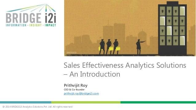 BRIDGEi2i Sales Effectiveness Analytics Solutions - Introduction