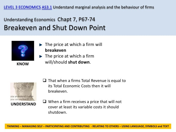 LEVEL 3 ECONOMICS AS3.1 Understand marginal analysis and the behaviour of firmsUnderstanding Economics Chapt 7, P67-74Brea...