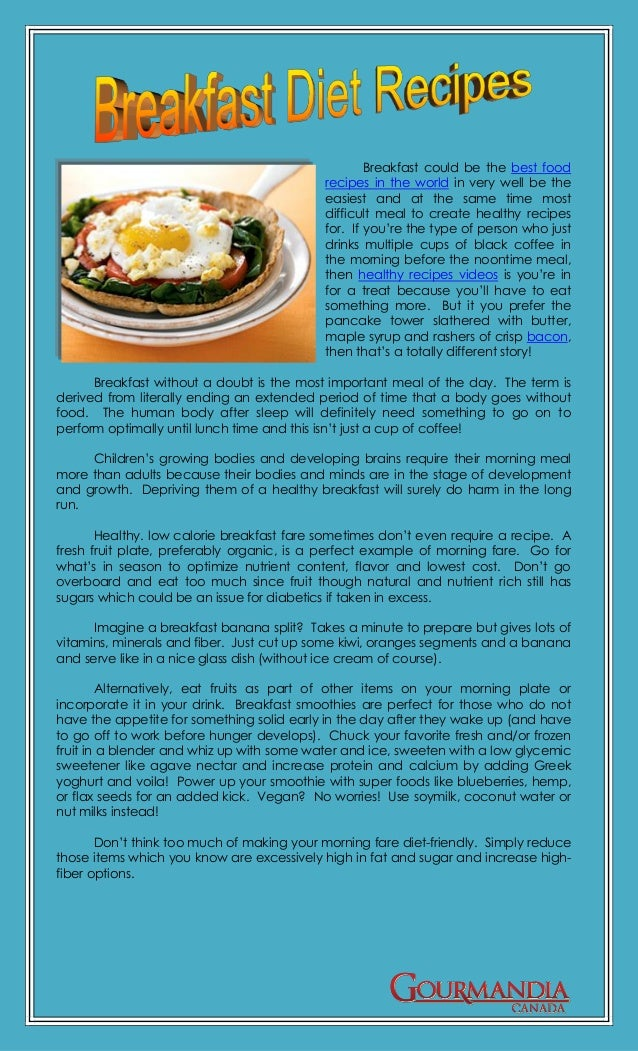 Breakfast could be the best food                                           recipes in the world in very well be the       ...