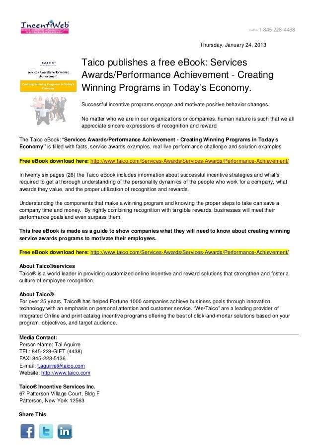 Thursday, January 24, 2013                          Taico publishes a free eBook: Services                          Awards...