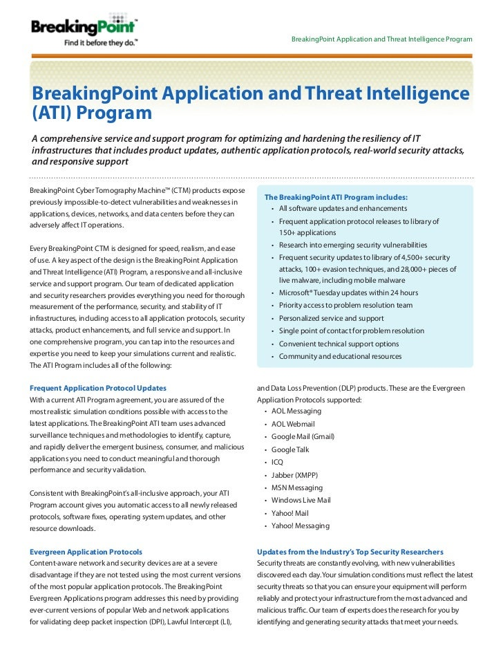 BreakingPoint Application and Threat Intelligence ProgramBreakingPoint Application and Threat Intelligence(ATI) ProgramA c...