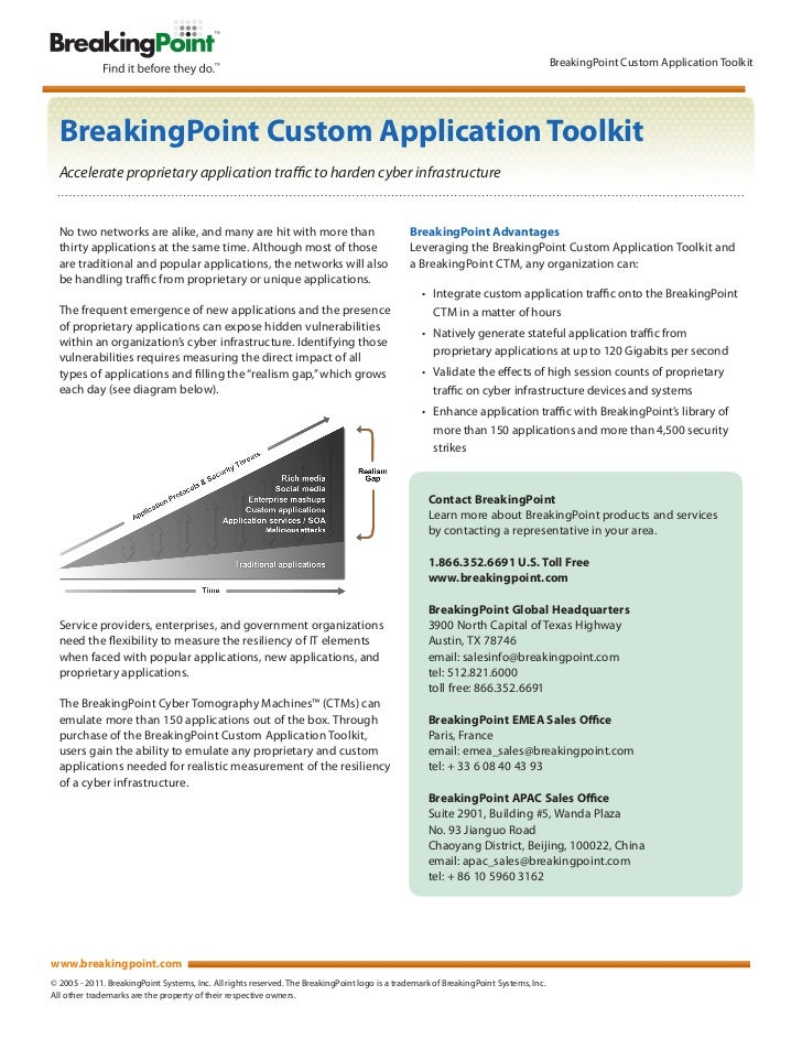 BreakingPoint Custom Application Toolkit  BreakingPoint Custom Application Toolkit  Accelerate proprietary application tra...