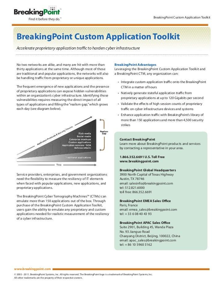 BreakingPoint Custom Application Toolkit