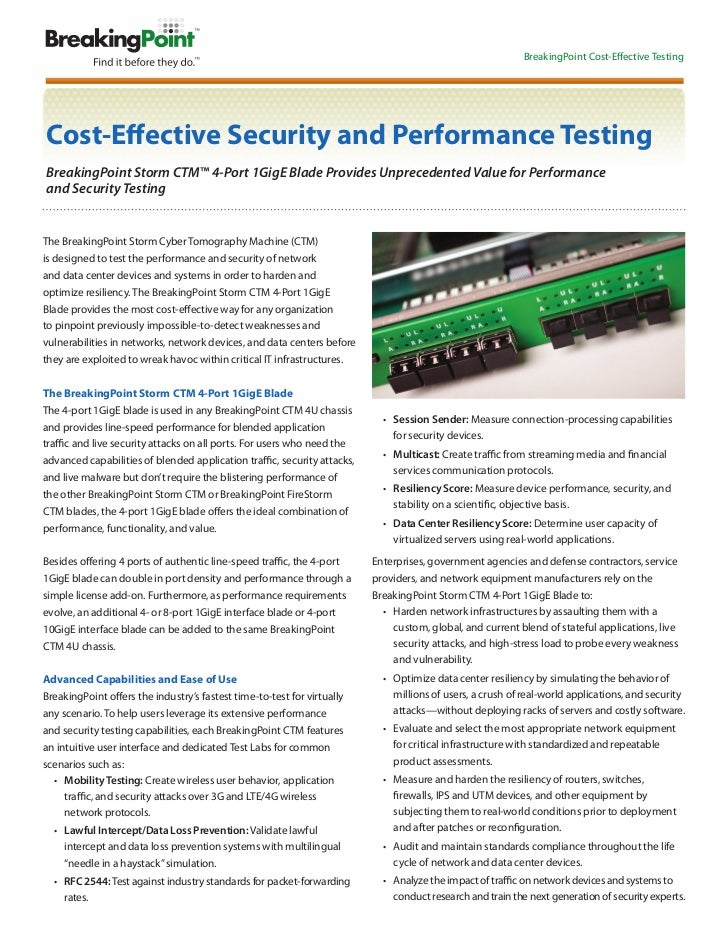 BreakingPoint Cost-Effective TestingCost-Effective Security and Performance TestingBreakingPoint Storm CTM™ 4-Port 1GigE B...