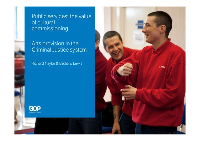 Public services: the value of cultural commissioning Arts provision in the Criminal Justice system Richard Naylor & Bethan...