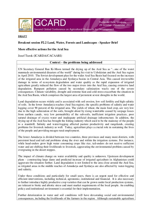 GCARD2: Briefing paper Land, Water, Forests and Landscapes - More effective actions for the Aral Sea