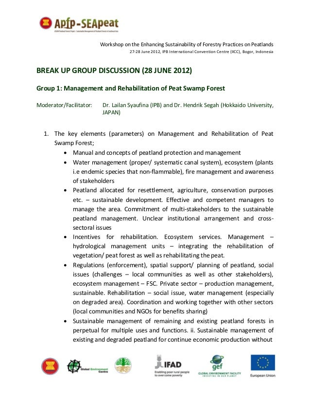 Workshop on the Enhancing Sustainability of Forestry Practices on Peatlands                                     27-28 June...