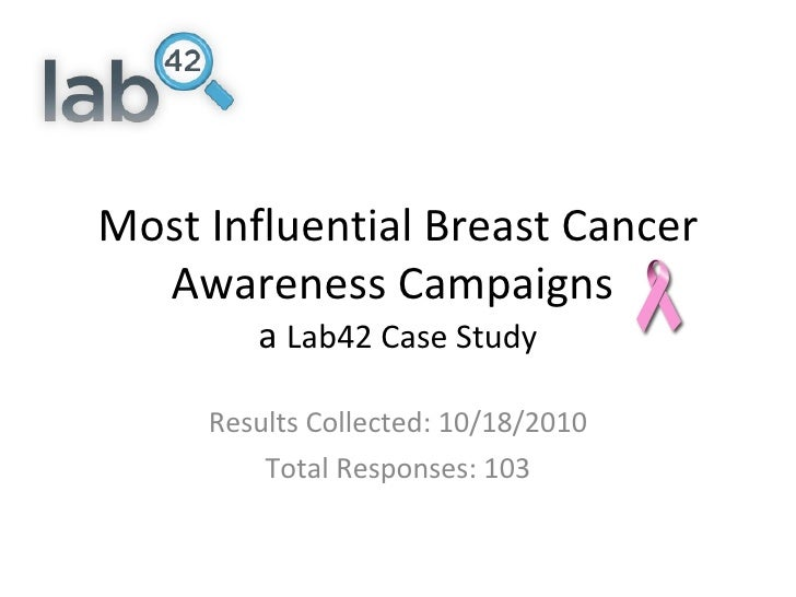 Most Influential Breast Cancer Awareness Campaigns  a  Lab42 Case Study Results Collected: 10/18/2010 Total Responses: 103