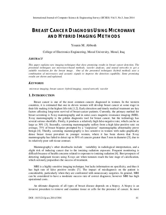 Breast cancer diagnosis using microwave