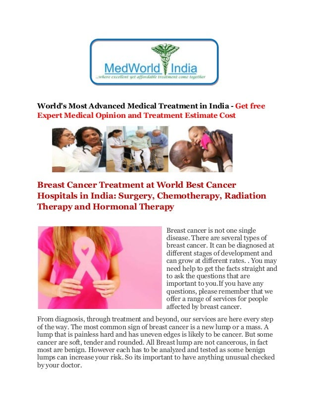 World's Most Advanced Medical Treatment in India - Get free Expert Medical Opinion and Treatment Estimate Cost Breast Canc...
