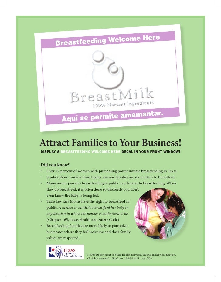 Attract Families to Your Business! display a Breastfeeding Welcome Here decal in your front WindoW!   Did you know? •	 Ove...