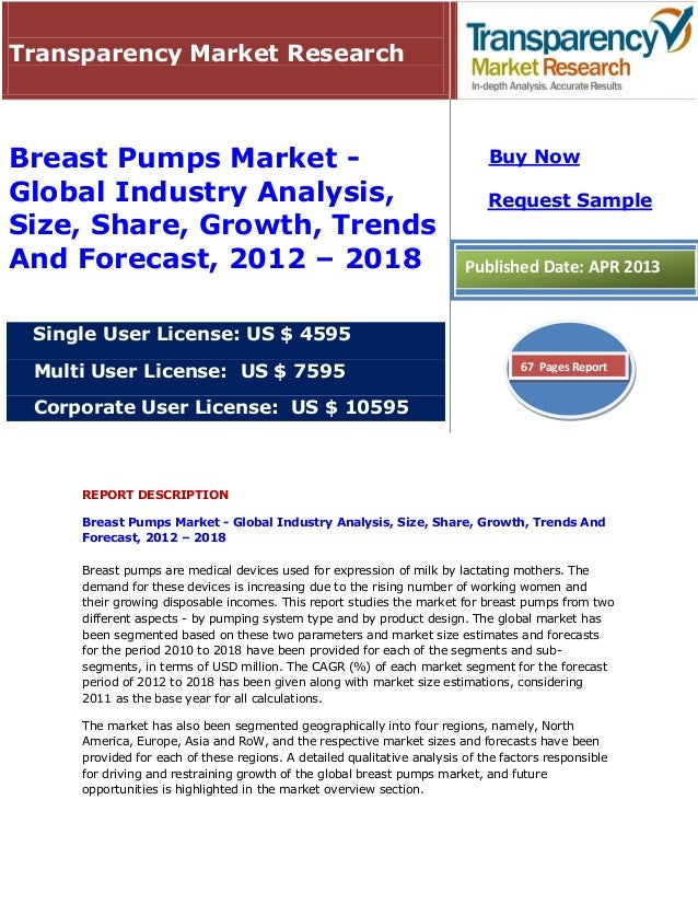 REPORT DESCRIPTIONBreast Pumps Market - Global Industry Analysis, Size, Share, Growth, Trends AndForecast, 2012 – 2018Brea...