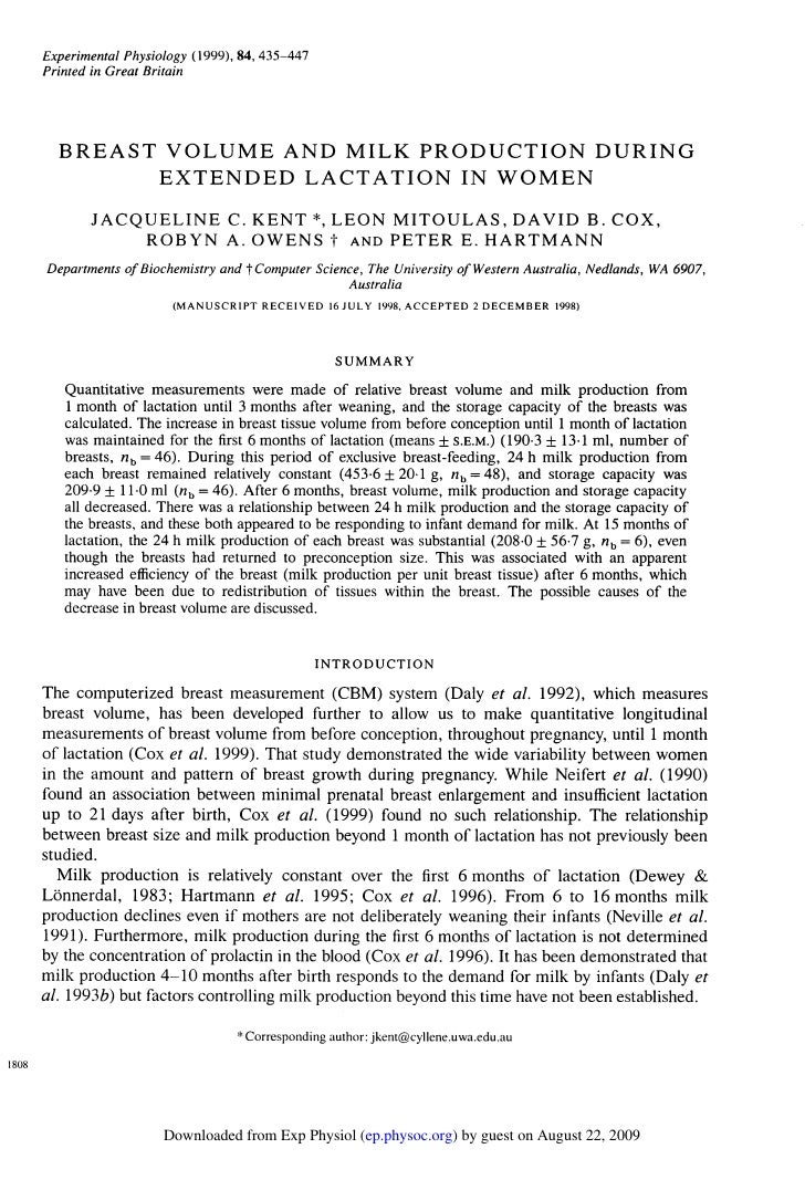 Experimental Physiology (1999), 84, 435-447        Printed in Great Britain              BREAST VOLUME AND MILK PRODUCTION...