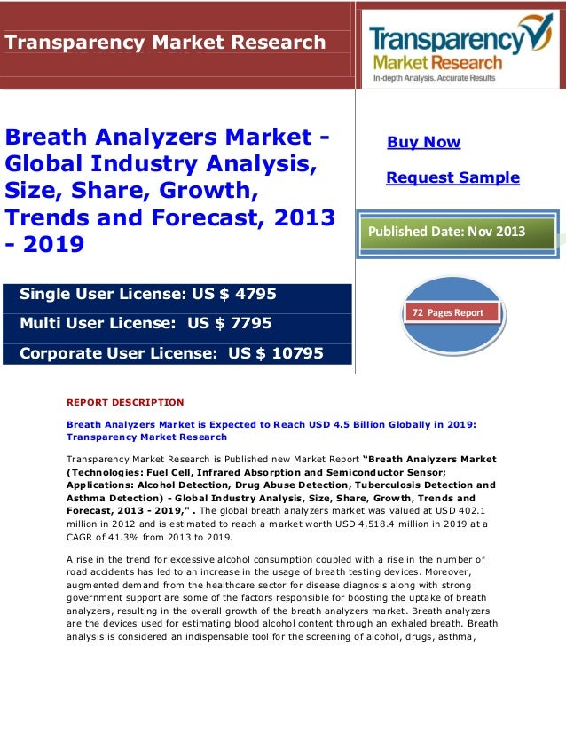 REPORT DESCRIPTION Breath Analyzers Market is Expected to Reach USD 4.5 Billion Globally in 2019: Transparency Market Rese...