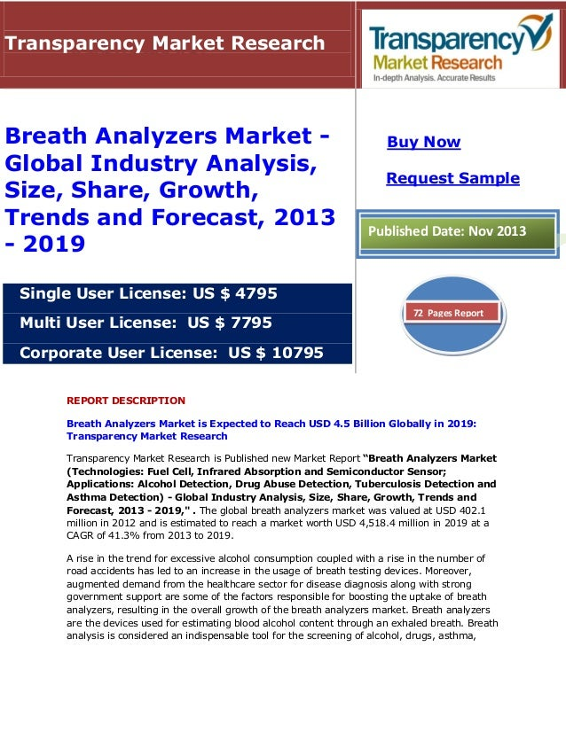 Transparency Market Research  Breath Analyzers Market Global Industry Analysis, Size, Share, Growth, Trends and Forecast, ...