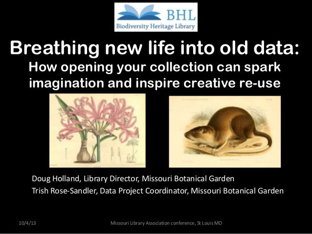 Breathing new life into old data: How opening your collection can spark imagination and inspire creative re-use Doug Holla...