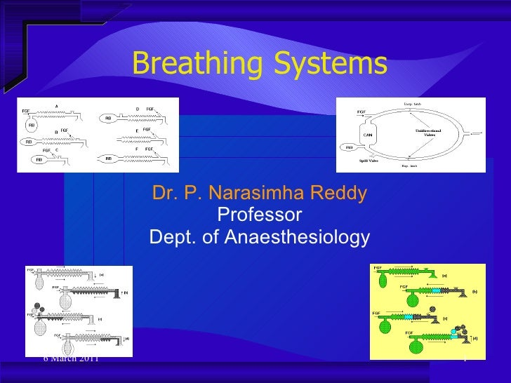 Breathing Systems Dr. P. Narasimha Reddy Professor Dept. of Anaesthesiology 6 March 2011