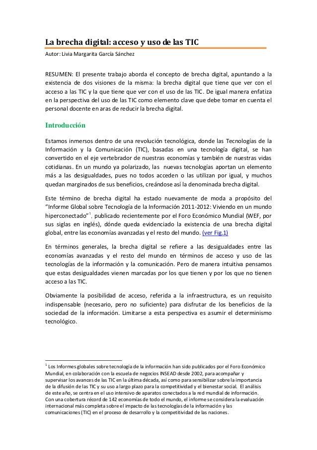 La brecha digital: acceso y uso de las TIC Autor: Livia Margarita García Sánchez  RESUMEN: El presente trabajo aborda el c...