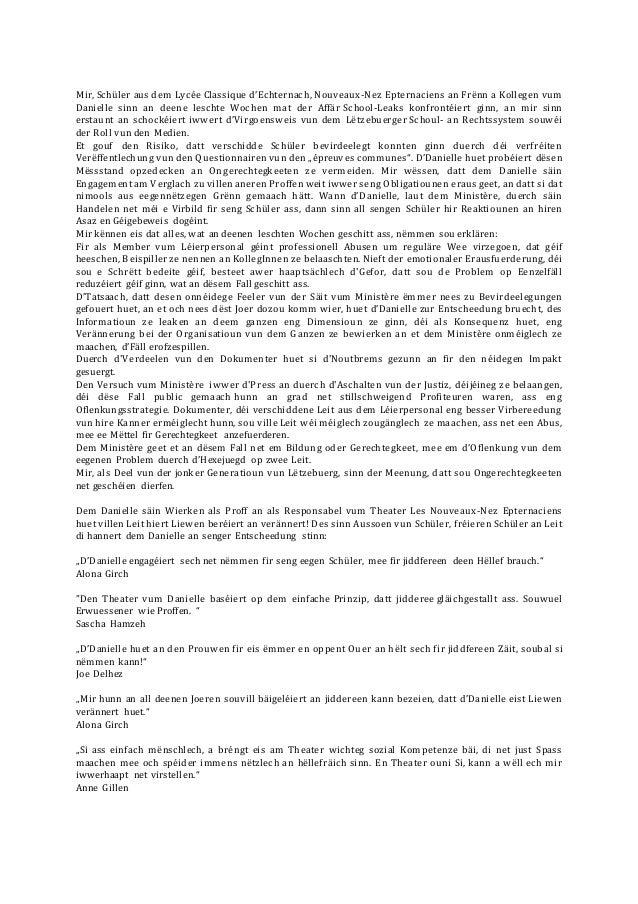 Mir, Schüler aus dem Lycée Classique d'Echternach, Nouveaux-Nez Epternaciens an Frënn a Kollegen vum Danielle sinn an deen...