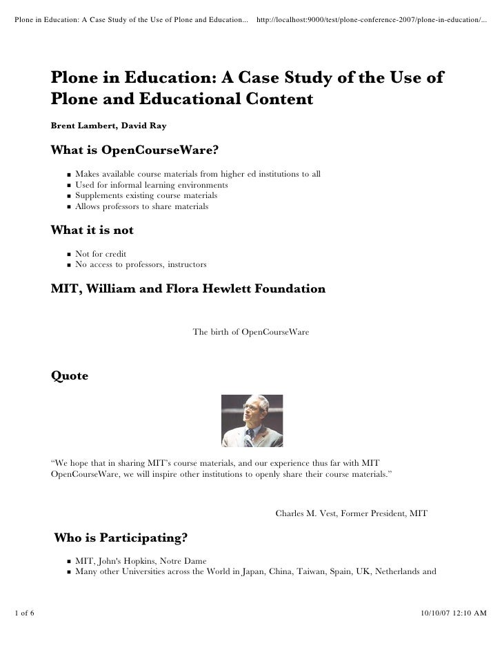 Plone in Education: A Case Study of the Use of Plone and Education... http://localhost:9000/test/plone-conference-2007/plo...