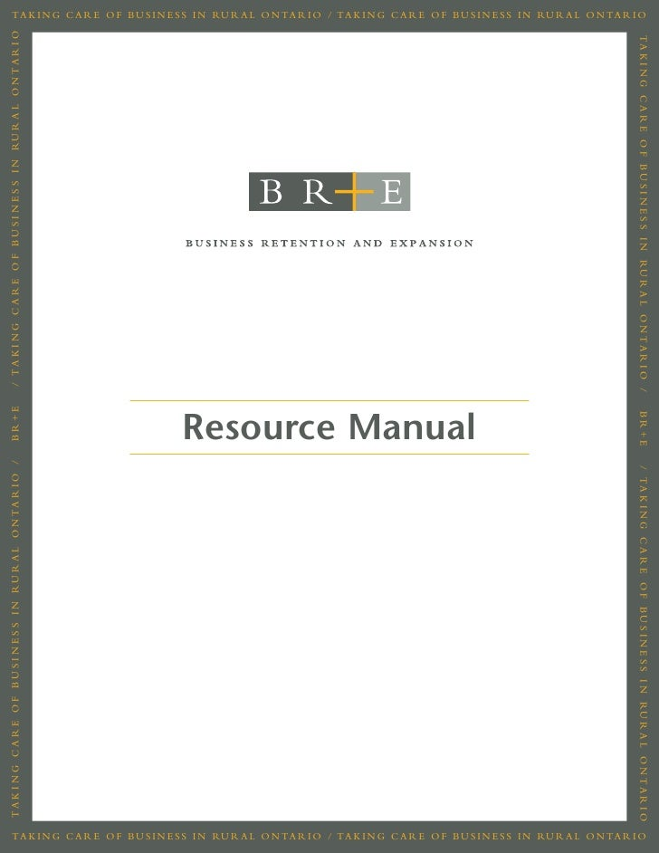 Business Retention and Expansion Manual