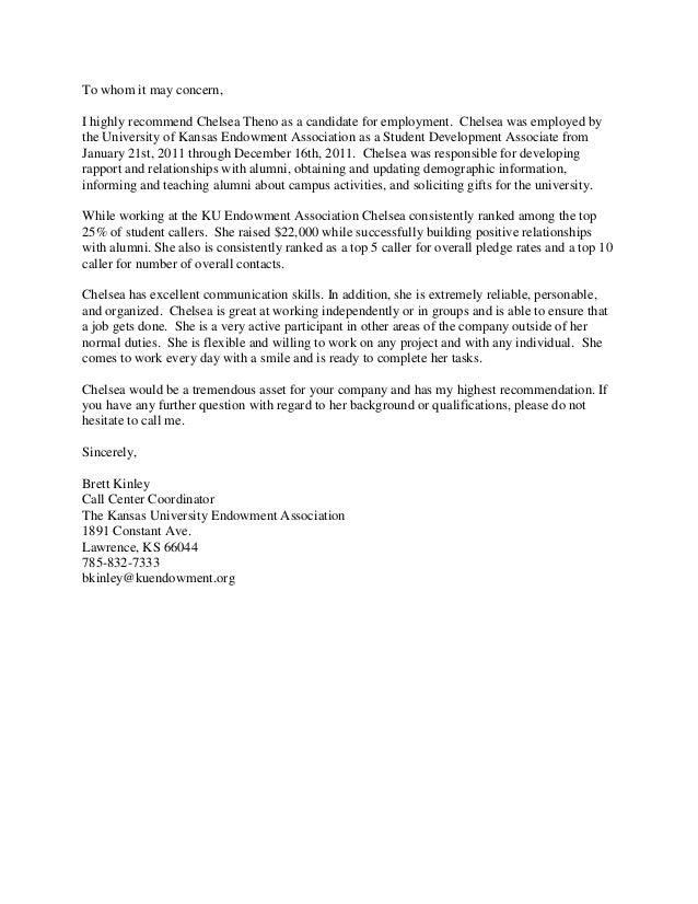 Brett kinley (ku endowment manager )recommendation letter