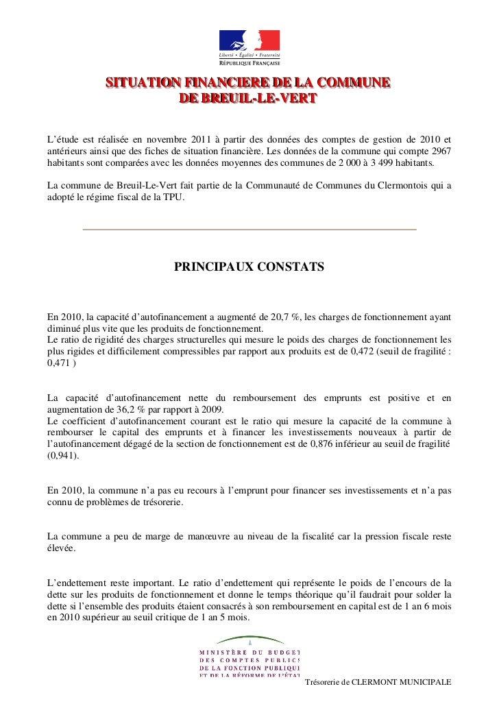 SITUATION FINANCIERE DE LA COMMUNE              SITUATION FINANCIERE DE LA COMMUNE                       DE BREUIL-LE-VERT...