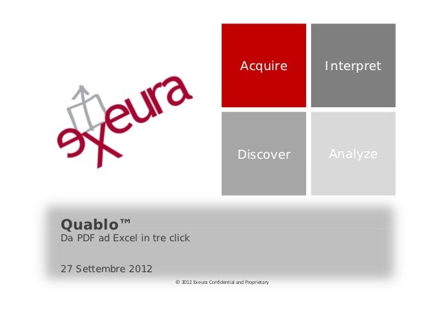 Acquire         Interpret                                                   Discover          AnalyzeQuablo™Da PDF ad Exce...