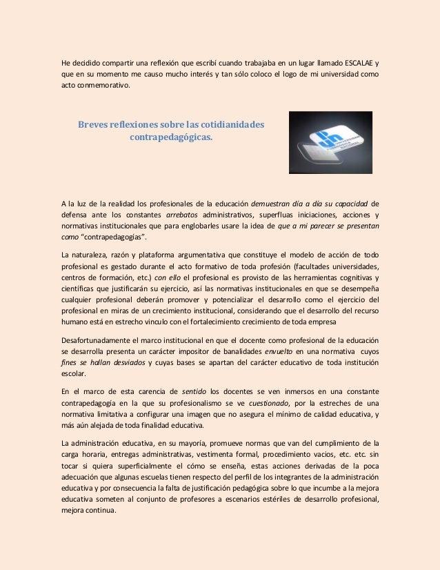 Breves reflexiones sobre las cotidianidades contrapedagógicas isaac carrillo j