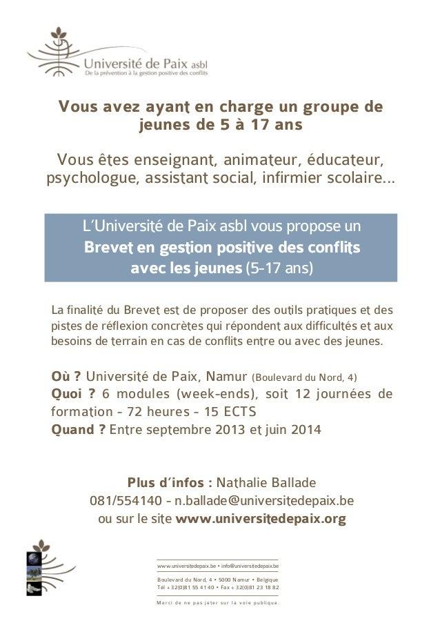 www.universitedepaix.be • info@universitedepaix.beBoulevard du Nord, 4 • 5000 Namur • BelgiqueTél + 32(0)81 55 41 40 • Fax...