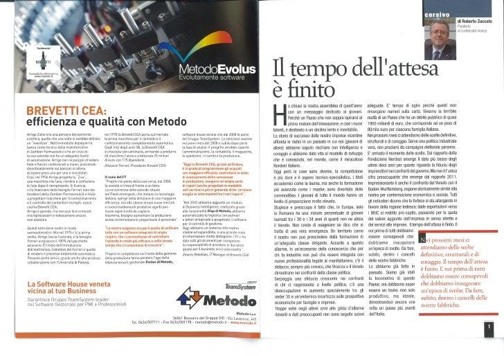 Brevetti Cea nella rivista Industria Vicentina di luglio-agosto 2011
