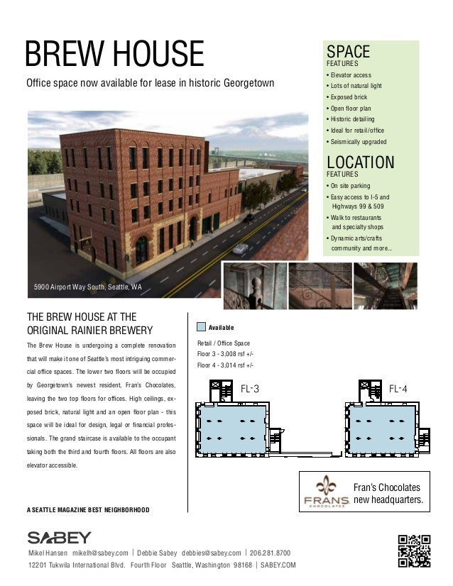 BREW HOUSE  SPACE FEATURES  Office space now available for lease in historic Georgetown  • Elevator access • Lots of natur...