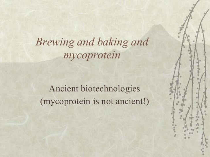 Brewing and baking and mycoprotein Ancient biotechnologies (mycoprotein is not ancient!)