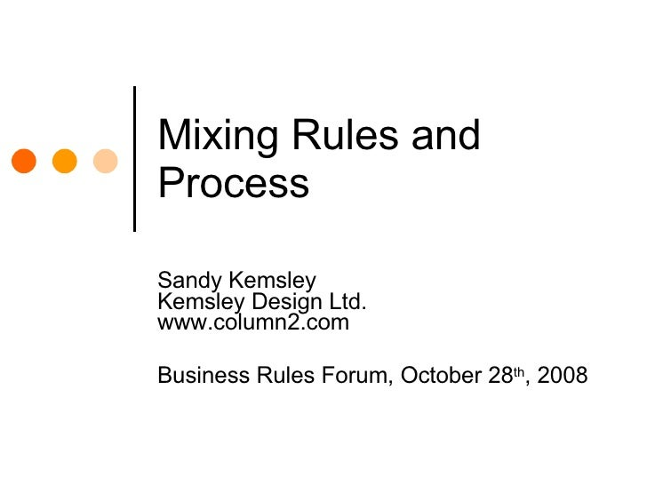 Mixing Rules and Process Sandy Kemsley Kemsley Design Ltd. www.column2.com Business Rules Forum, October 28 th , 2008