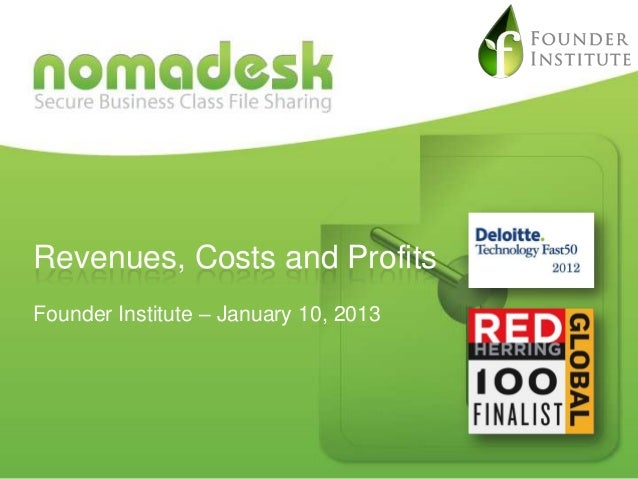 Presentation on Revenues, Costs and Profits