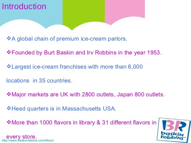 swot analysis of baskin robbins 4 situational analysis swot analysis strength • baskin robbins has been a part of • baskin robbins has it's outlet at this field since a long time and has.