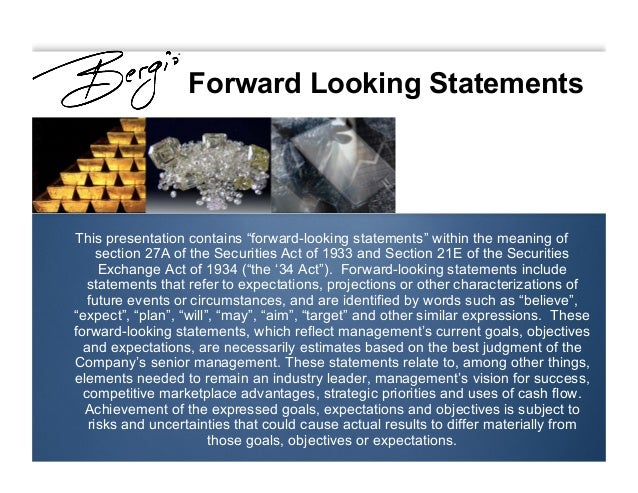 """Forward Looking Statements This presentation contains """"forward-looking statements"""" within the meaning of section 27A of th..."""