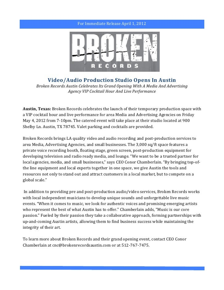 For Immediate Release April 1, 2012                             Video/Audio Production Studio Opens ...