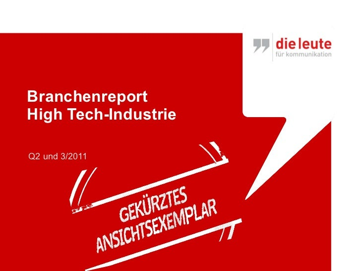 Branchenreport High Tech-Industrie Q2 und 3/2011