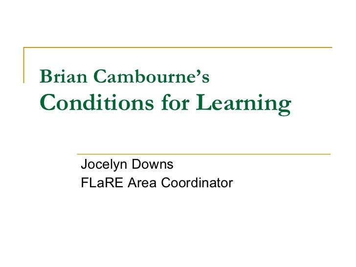 Brian Cambourne'S Conditions Of Learning