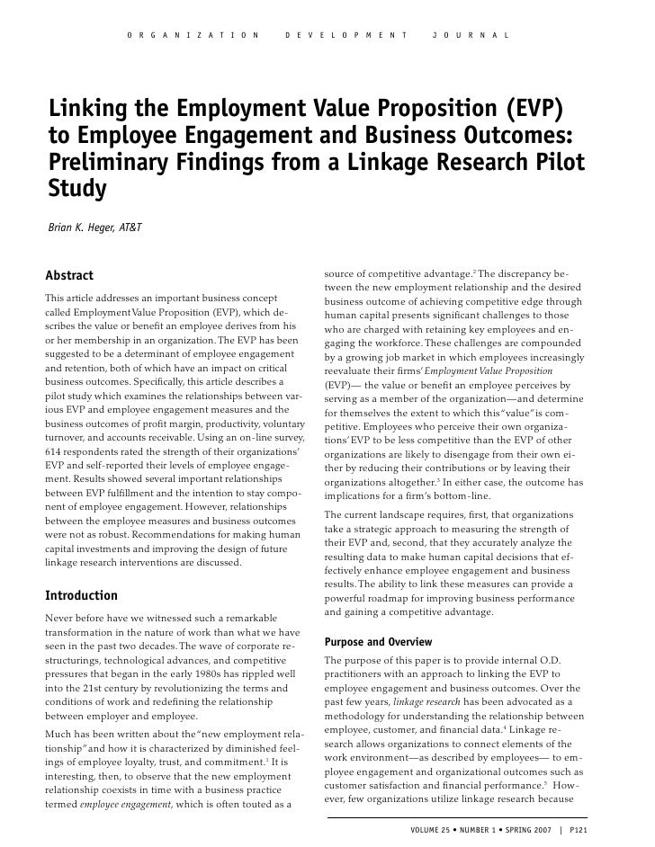Published Article on Employee Engagement and Employment Value Proposition