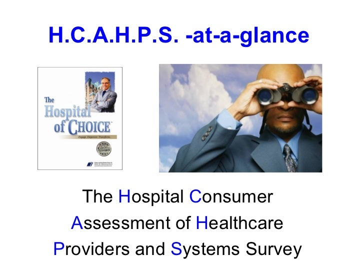 The  H ospital  C onsumer A ssessment of  H ealthcare  P roviders and  S ystems Survey H.C.A.H.P.S. -at-a-glance