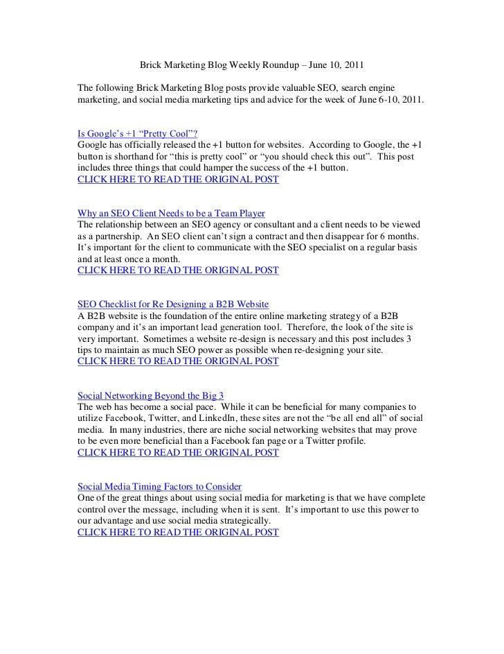 Brick Marketing Blog Weekly Roundup – June 10, 2011<br />The following Brick Marketing Blog posts provide valuable SEO, se...