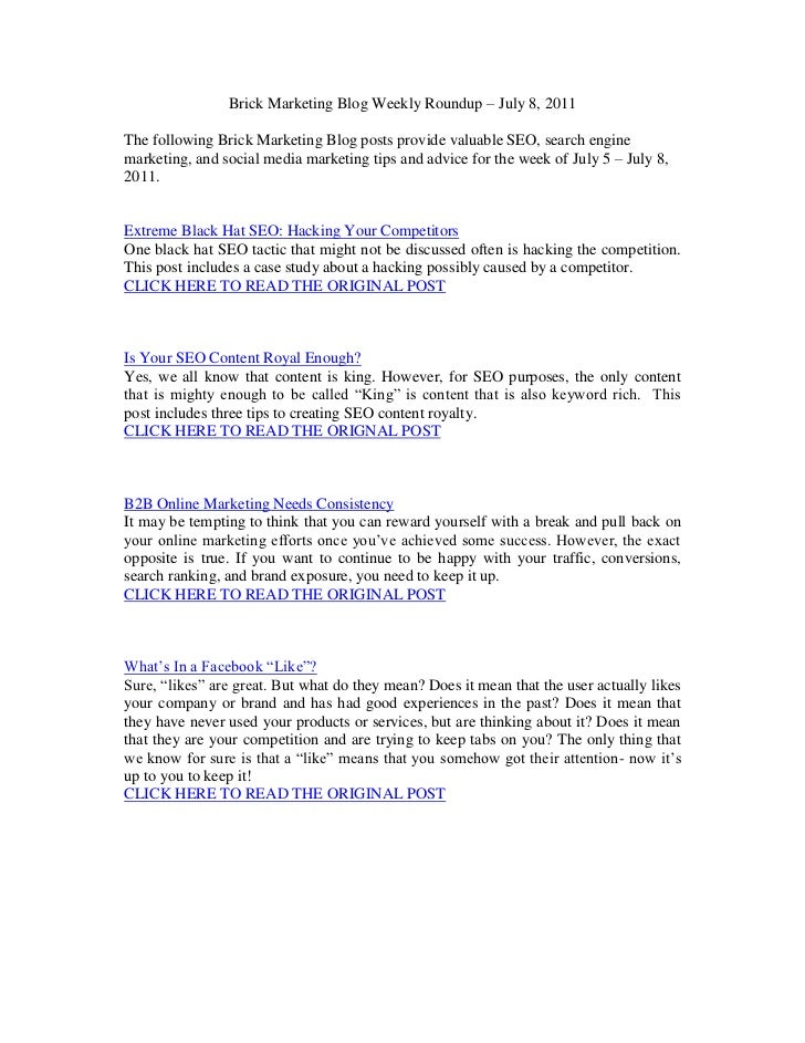 SEO Articles for July 8, 2011