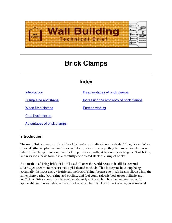 Brick Clamps                                            Index   Introduction                               Disadvantages o...