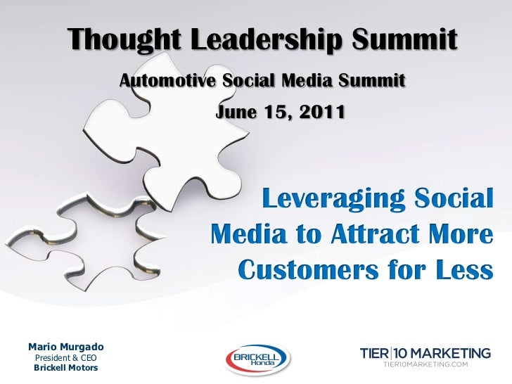 Thought Leadership Summit<br />Automotive Social Media Summit<br />June 15, 2011<br />Leveraging Social Media to Attract ...